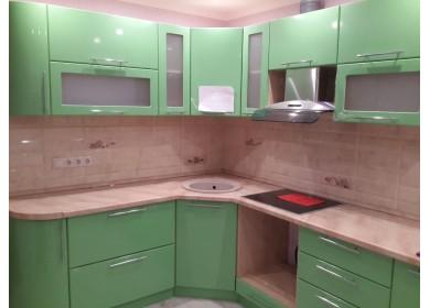 Глянцевая кухня из МДФ в цвете Эвкалипт/Зеленый перламутр